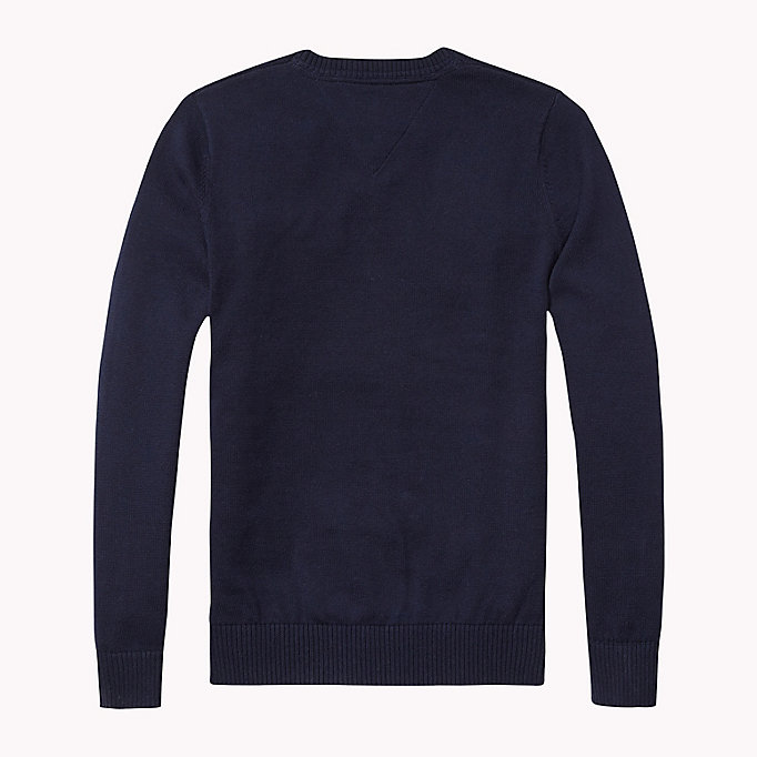 TOMMY HILFIGER Cotton Jumper - GREY HEATHER - TOMMY HILFIGER Kids - detail image 1