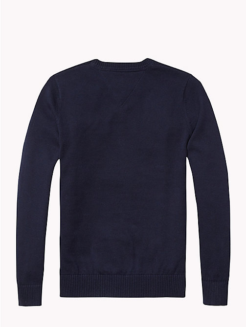 TOMMY HILFIGER Crew Neck Cotton Jumper - MIDNIGHT - TOMMY HILFIGER Knitwear - detail image 1