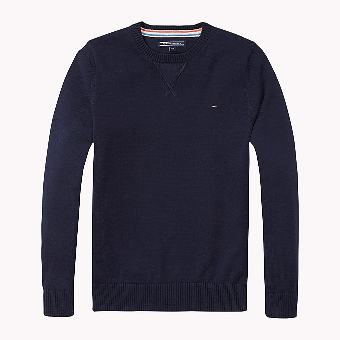 TOMMY HILFIGER Pullover aus Baumwolle - GREY HEATHER - TOMMY HILFIGER Kinder - main image