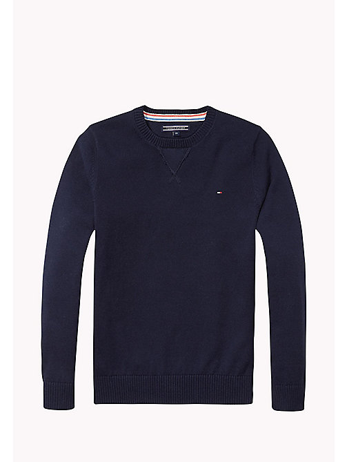 TOMMY HILFIGER Crew Neck Cotton Jumper - MIDNIGHT - TOMMY HILFIGER Knitwear - main image