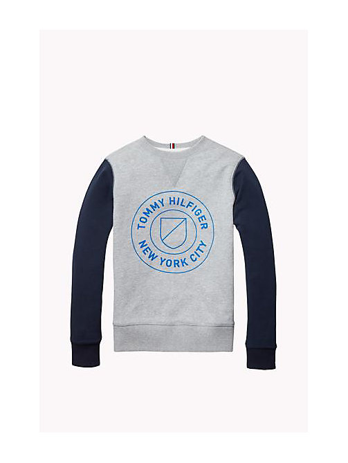 Cotton Blend Sweatshirt - GREY HEATHER - TOMMY HILFIGER Niños - imagen principal