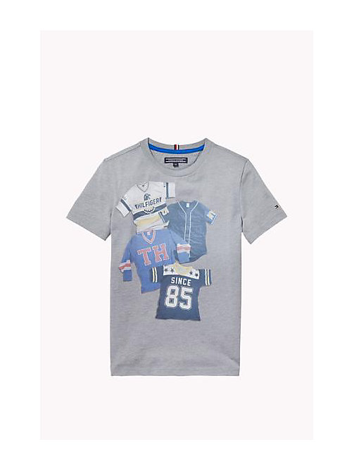 Cotton Blend Crew Neck T-Shirt - GREY HEATHER - TOMMY HILFIGER Boys - main image
