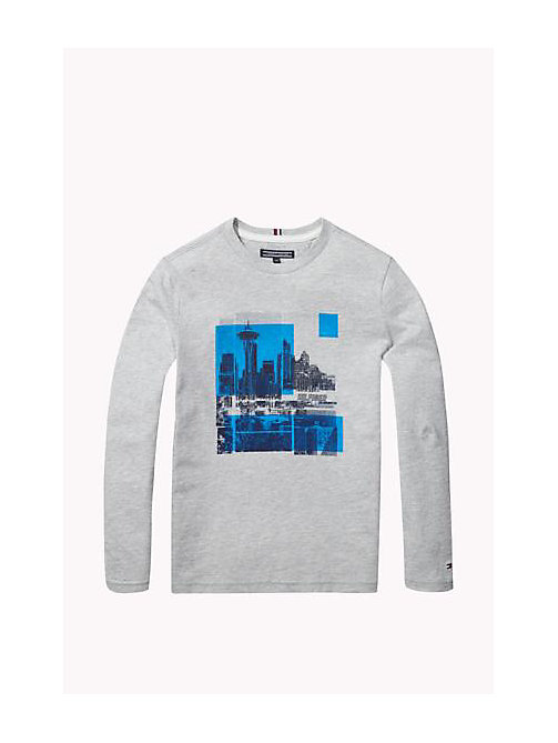 Organic Cotton Crew Neck T-Shirt - GREY HEATHER - TOMMY HILFIGER Boys - main image