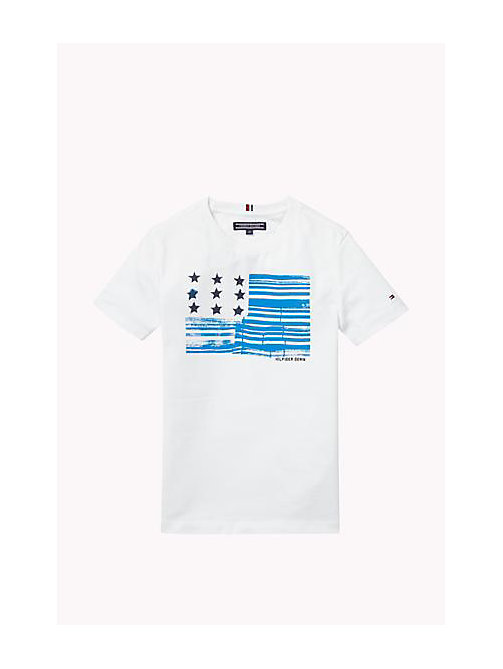 Cotton Blend Crew Neck T-Shirt - BRIGHT WHITE - TOMMY HILFIGER Boys - main image