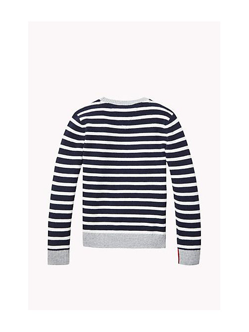 TOMMY HILFIGER Cotton Crew Neck Jumper - NAVY BLAZER / BRIGHT WHITE - TOMMY HILFIGER Boys - detail image 1