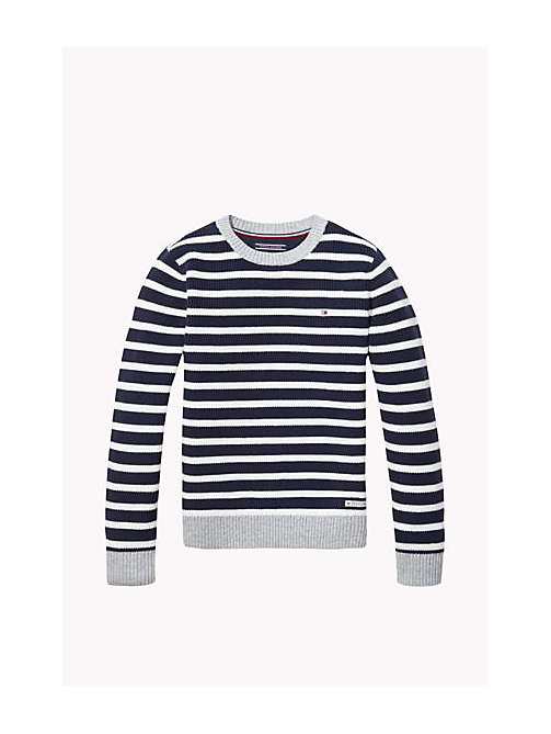 TOMMY HILFIGER Cotton Crew Neck Jumper - NAVY BLAZER / BRIGHT WHITE - TOMMY HILFIGER Boys - main image