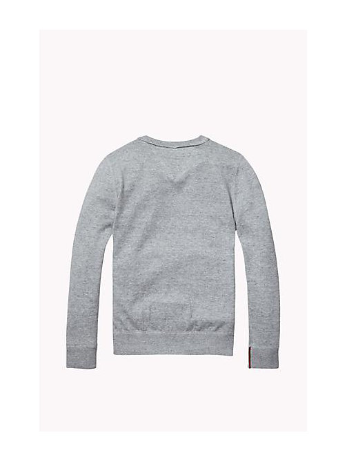 TOMMY HILFIGER Cotton Crew Neck Jumper - MID GREY HEATHER - TOMMY HILFIGER Boys - detail image 1