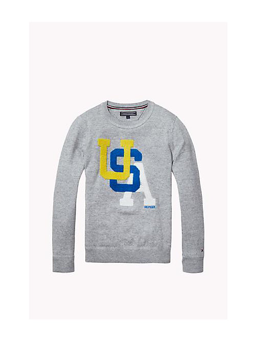 Cotton Crew Neck Jumper - MID GREY HEATHER - TOMMY HILFIGER Boys - main image