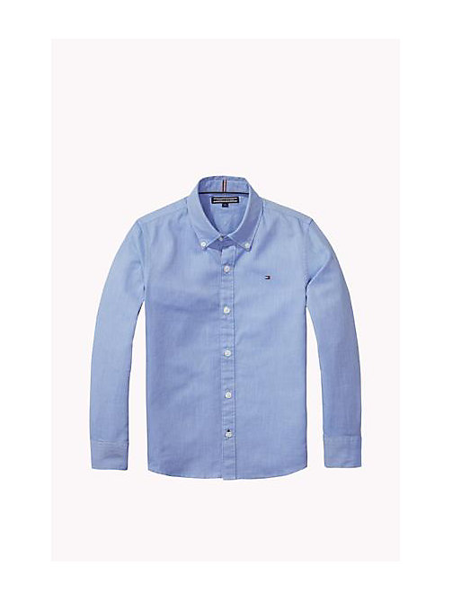 TOMMY HILFIGER Camicia in cotone dobby - SHIRT BLUE - TOMMY HILFIGER Bambino - immagine principale