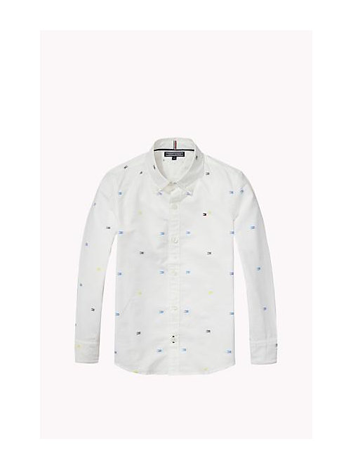 TOMMY HILFIGER Regular Fit Dobby Shirt - BRIGHT WHITE - TOMMY HILFIGER Boys - main image