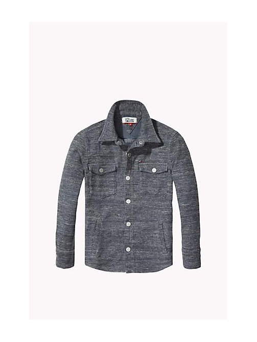 TOMMY HILFIGER Regular Fit Heathered Knit Shirt - MELANGE GREY DENIM - TOMMY HILFIGER Boys - main image