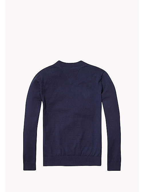 TOMMY HILFIGER Cotton Cashmere Cardigan - NAVY BLAZER HEATHER - TOMMY HILFIGER Boys - detail image 1