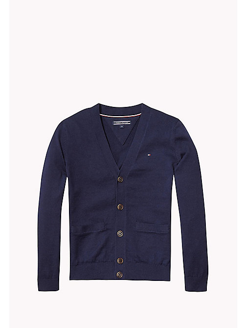 TOMMY HILFIGER Cotton Cashmere Cardigan - NAVY BLAZER HEATHER - TOMMY HILFIGER Boys - main image