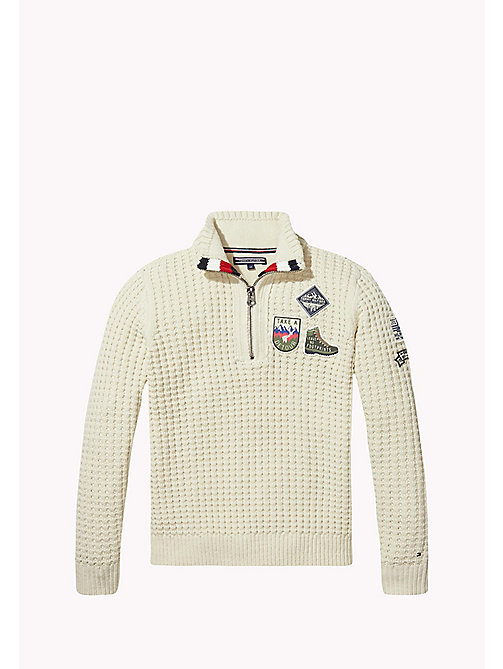 TOMMY HILFIGER Cotton Blend Zip Jumper - BONE WHITE - TOMMY HILFIGER Boys - main image