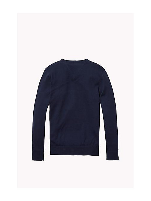 TOMMY HILFIGER Cotton Crew Neck Jumper - NAVY BLAZER - TOMMY HILFIGER Boys - detail image 1