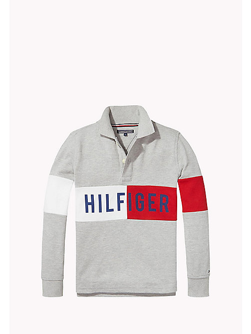 TOMMY HILFIGER Polo met vlagontwerp - GREY HEATHER - TOMMY HILFIGER Jongens - main image