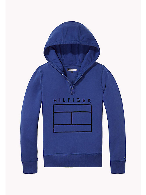 TOMMY HILFIGER AME HILFIGER HD ZIP HWK L/S - BLUE DEPTHS - TOMMY HILFIGER Tops - main image
