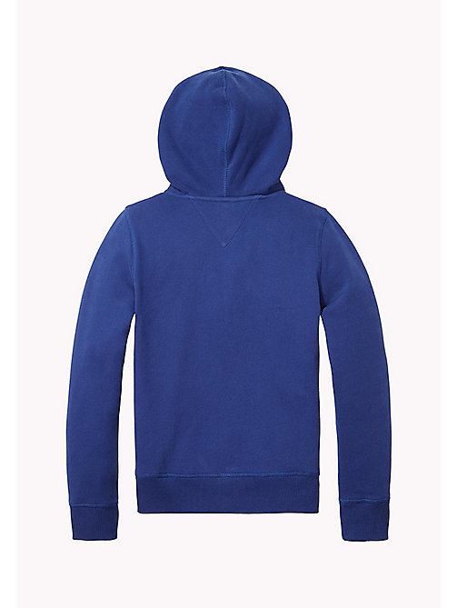TOMMY HILFIGER Logo Print Zip-Thru Hoodie - BLUE DEPTHS - TOMMY HILFIGER Sweatshirts & Hoodies - detail image 1