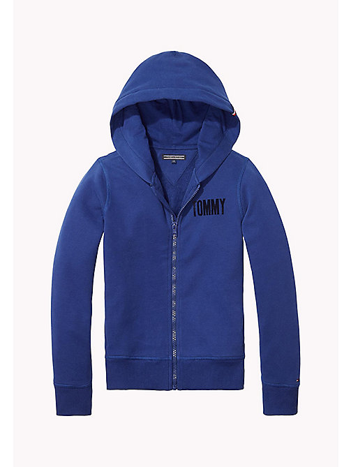 TOMMY HILFIGER Logo Print Zip-Thru Hoodie - BLUE DEPTHS - TOMMY HILFIGER Sweatshirts & Hoodies - main image