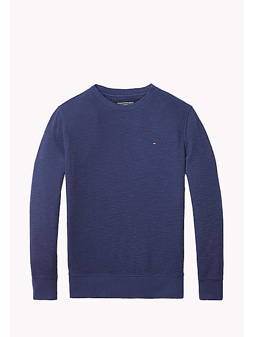 TOMMY HILFIGER Long Sleeved Textured T-Shirt - BLACK IRIS - TOMMY HILFIGER T-shirts & Polos - main image
