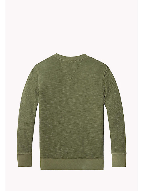 TOMMY HILFIGER Long Sleeved Textured T-Shirt - THYME - TOMMY HILFIGER T-shirts & Polos - detail image 1
