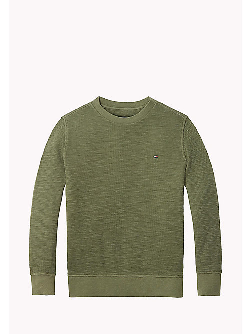 TOMMY HILFIGER Long Sleeved Textured T-Shirt - THYME - TOMMY HILFIGER T-shirts & Polos - main image