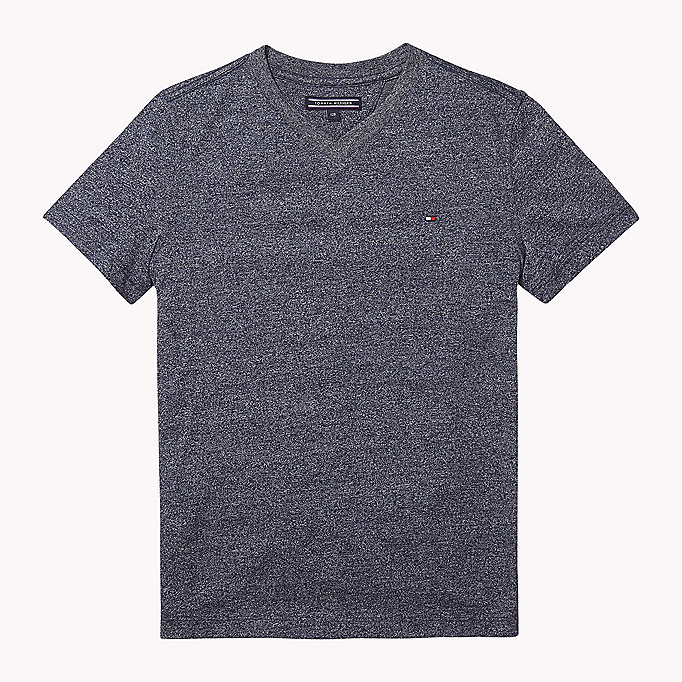 TOMMY HILFIGER Cotton Blend V-Neck T-Shirt - CAMEO BLUE - TOMMY HILFIGER Kids - main image