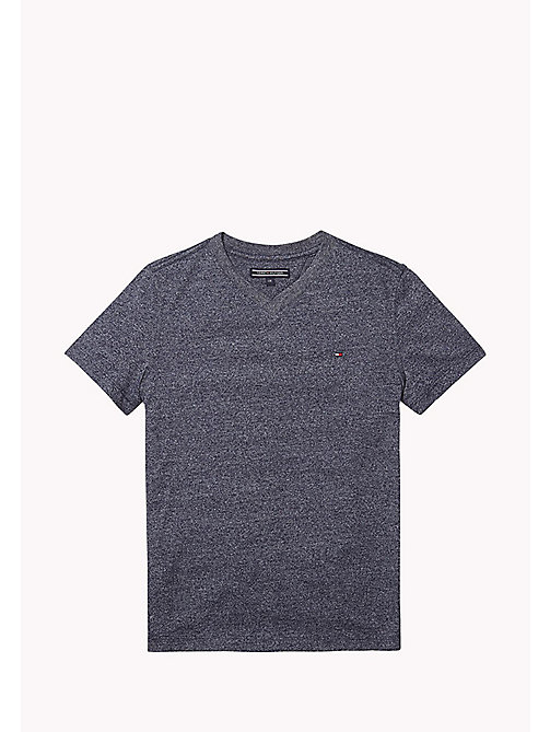 TOMMY HILFIGER Cotton Blend V-Neck T-Shirt - BLACK IRIS - TOMMY HILFIGER T-shirts & Polos - main image