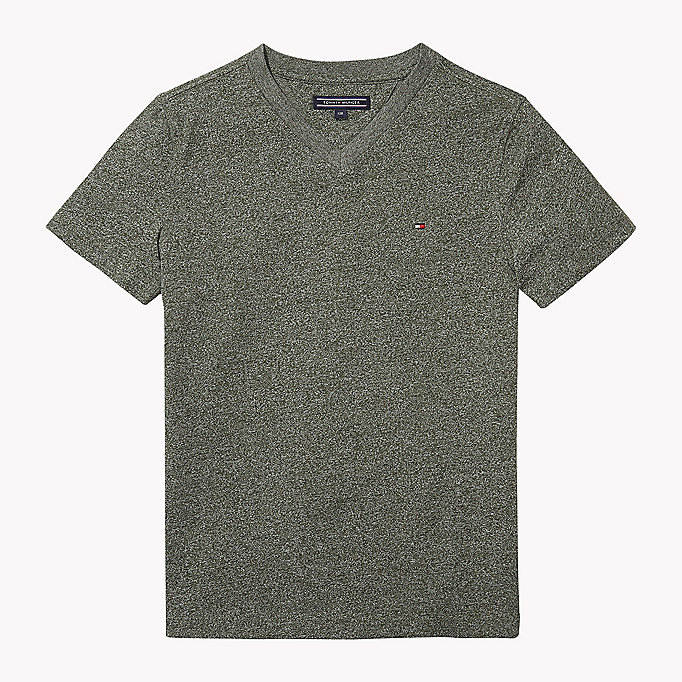TOMMY HILFIGER Cotton Blend V-Neck T-Shirt - BLACK IRIS - TOMMY HILFIGER Kids - main image