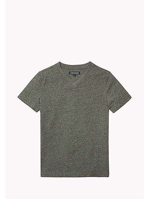 TOMMY HILFIGER Cotton Blend V-Neck T-Shirt - THYME - TOMMY HILFIGER T-shirts & Polos - main image