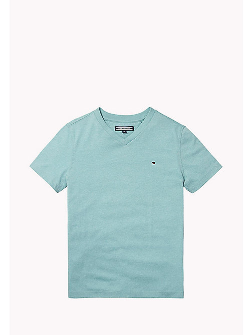 TOMMY HILFIGER Cotton Blend V-Neck T-Shirt - CAMEO BLUE - TOMMY HILFIGER T-shirts & Polos - main image