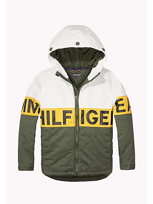 TOMMY HILFIGER Hooded Waxed Cotton Coat - THYME - TOMMY HILFIGER Coats & Jackets - main image