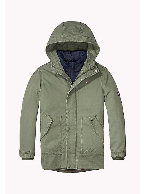 TOMMY HILFIGER 2-in-1 Cotton Parka - THYME - TOMMY HILFIGER Coats & Jackets - main image