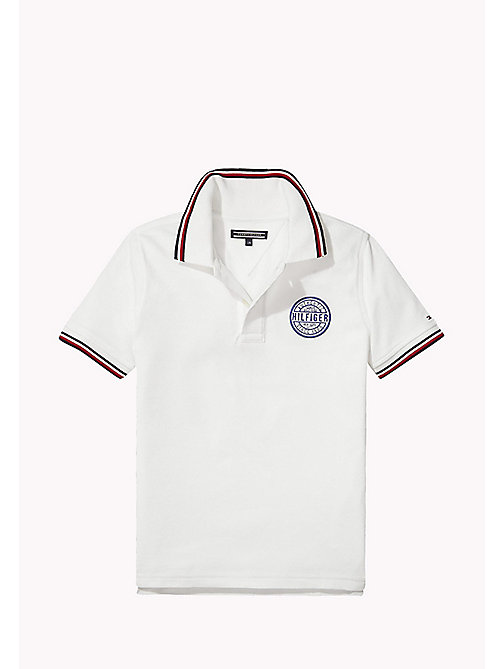 TOMMY HILFIGER Cotton Piqué Badge Polo - BRIGHT WHITE - TOMMY HILFIGER T-shirts & Polos - main image