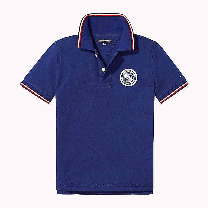 TOMMY HILFIGER Cotton Piqué Badge Polo - BRIGHT WHITE - TOMMY HILFIGER Kids - main image