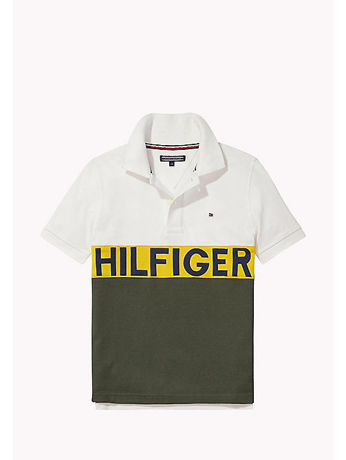 TOMMY HILFIGER STRIPE BLOCK POLO S/S - BRIGHT WHITE - TOMMY HILFIGER Tops - main image
