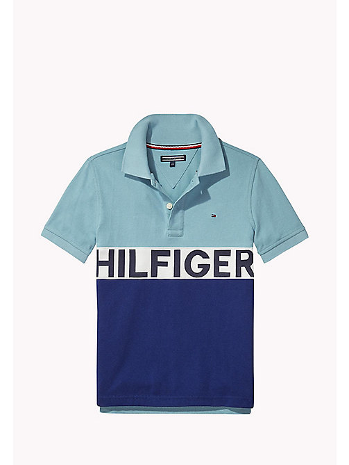 TOMMY HILFIGER STRIPE BLOCK POLO S/S - CAMEO BLUE - TOMMY HILFIGER Tops - main image