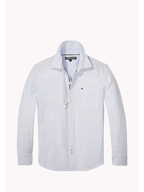 TOMMY HILFIGER Striped Cotton Shirt - REGATTA - TOMMY HILFIGER Shirts - main image