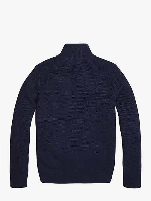 TOMMY HILFIGER Structured Cotton Zip Cardigan - BLACK IRIS - TOMMY HILFIGER Jumpers & Cardigans - detail image 1
