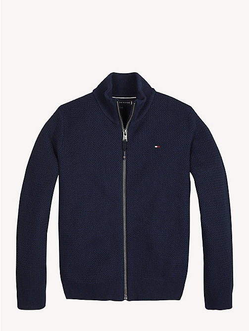 TOMMY HILFIGER Structured Cotton Zip Cardigan - BLACK IRIS - TOMMY HILFIGER Jumpers & Cardigans - main image