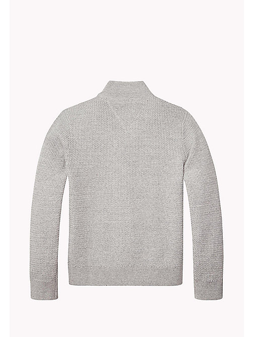 TOMMY HILFIGER Structured Cotton Zip Cardigan - LIGHT GREY HTR - TOMMY HILFIGER Jumpers & Cardigans - detail image 1