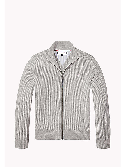 TOMMY HILFIGER Structured Cotton Zip Cardigan - LIGHT GREY HTR - TOMMY HILFIGER Jumpers & Cardigans - main image