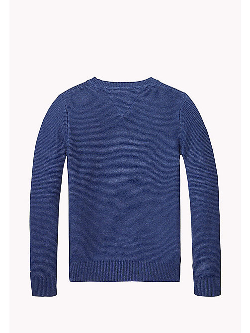 TOMMY HILFIGER Combed Cotton Jumper - BLUE DEPTHS HTR - TOMMY HILFIGER Jumpers & Cardigans - detail image 1