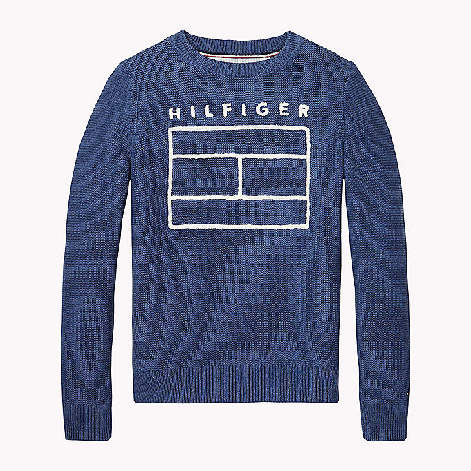 TOMMY HILFIGER Combed Cotton Jumper - GOLDEN GLOW HTR - TOMMY HILFIGER Kids - main image
