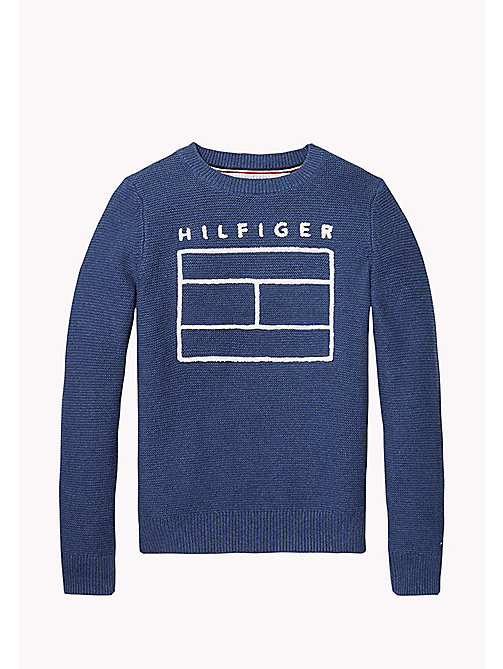 TOMMY HILFIGER AME LOGO CN SWEATER L/S - BLUE DEPTHS HTR - TOMMY HILFIGER Tops - main image