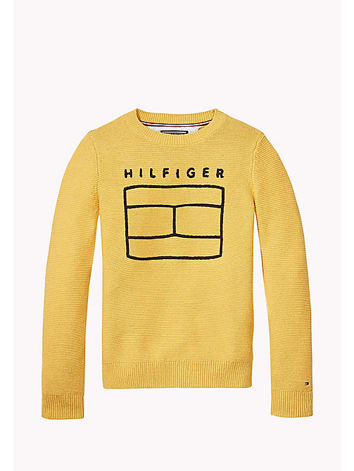 TOMMY HILFIGER Combed Cotton Jumper - GOLDEN GLOW HTR - TOMMY HILFIGER Jumpers & Cardigans - main image