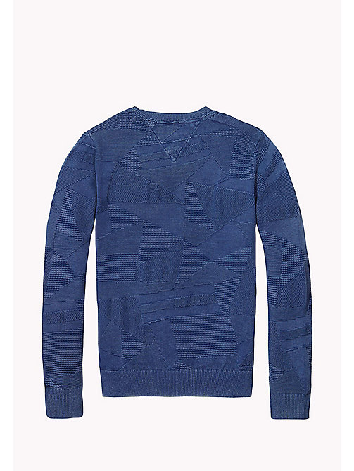 TOMMY HILFIGER Patterned Cotton Jumper - BLUE DEPTHS - TOMMY HILFIGER Jumpers & Cardigans - detail image 1