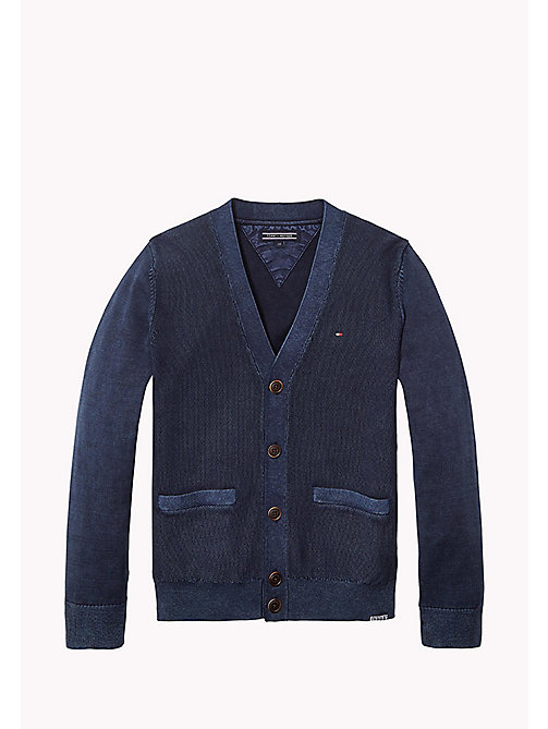 TOMMY HILFIGER Combed Cotton Cardigan - BLACK IRIS - TOMMY HILFIGER Jumpers & Cardigans - main image