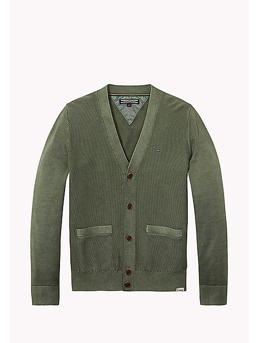 TOMMY HILFIGER Combed Cotton Cardigan - THYME - TOMMY HILFIGER Jumpers & Cardigans - main image