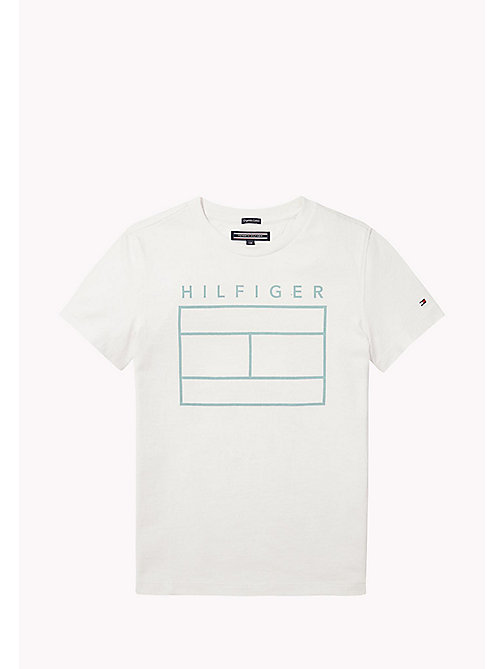TOMMY HILFIGER Iconic Flag Print T-Shirt - BRIGHT WHITE - TOMMY HILFIGER T-shirts & Polos - main image